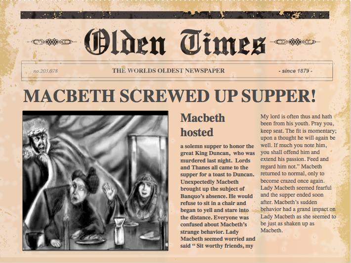 macbeth act 1 newspaper article