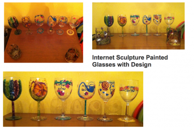 Internet Sculpture Painted Glasses with Design