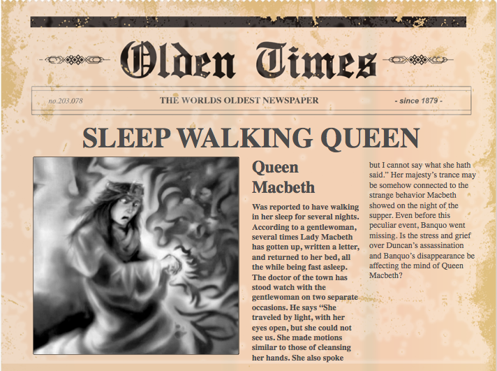 macbeth newspaper article project