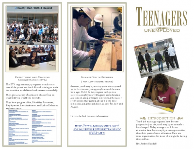 teen unemployment brochure