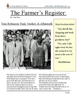 article tom robinson to kill The author's comments: this poem was based on a character in to kill a mockingbird named tom robinson this poem is in his perspective on his trial and his experience as a black man.