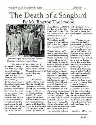 to kill a mockingbird newspaper article tom robinson trial Tom robinson: an innocent man on trial essaysin the novel to kill a mockingbird, by harper lee, tom robinson is a minor character tom robinson cares for his family tom is a helpful person and he provided for himself he is innocent and hard working tom is an innocent man he was accused and co.