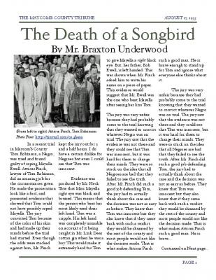 to kill a mockingbird newspaper article tom robinson trial Link scottsboro boys to tom robinson trial  the conviction of tom robinson in to kill a mockingbird and the real-life  to kill a mockingbird newspaper.