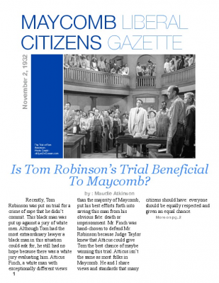 tom robinson eulogy tkam To kill a mockingbird is a 1962 american drama film directed by robert mulligan   atticus and jem go to the robinson family home to inform them of tom's death   tom robinson in the film version, quoted harper lee at peck's eulogy,.