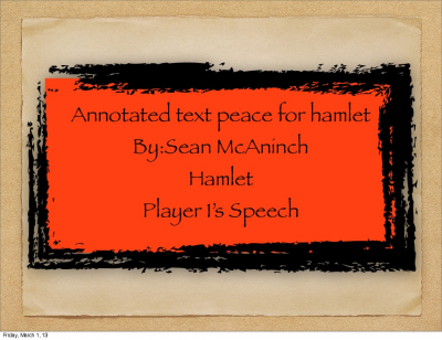 Anotated text peace from hamlet