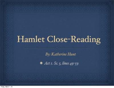 hamlet close reading essay