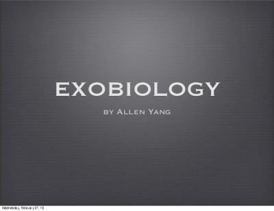 Introduction to Exobiology