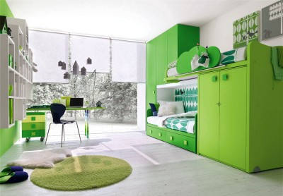 Modern-Green-Kids-Room-with-Study-Desk-and-Glass-Wall