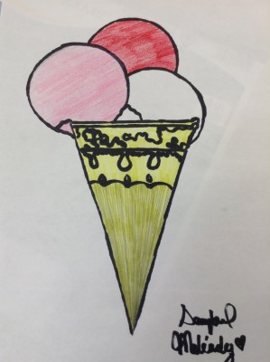 Ice cream pencil and sharpie