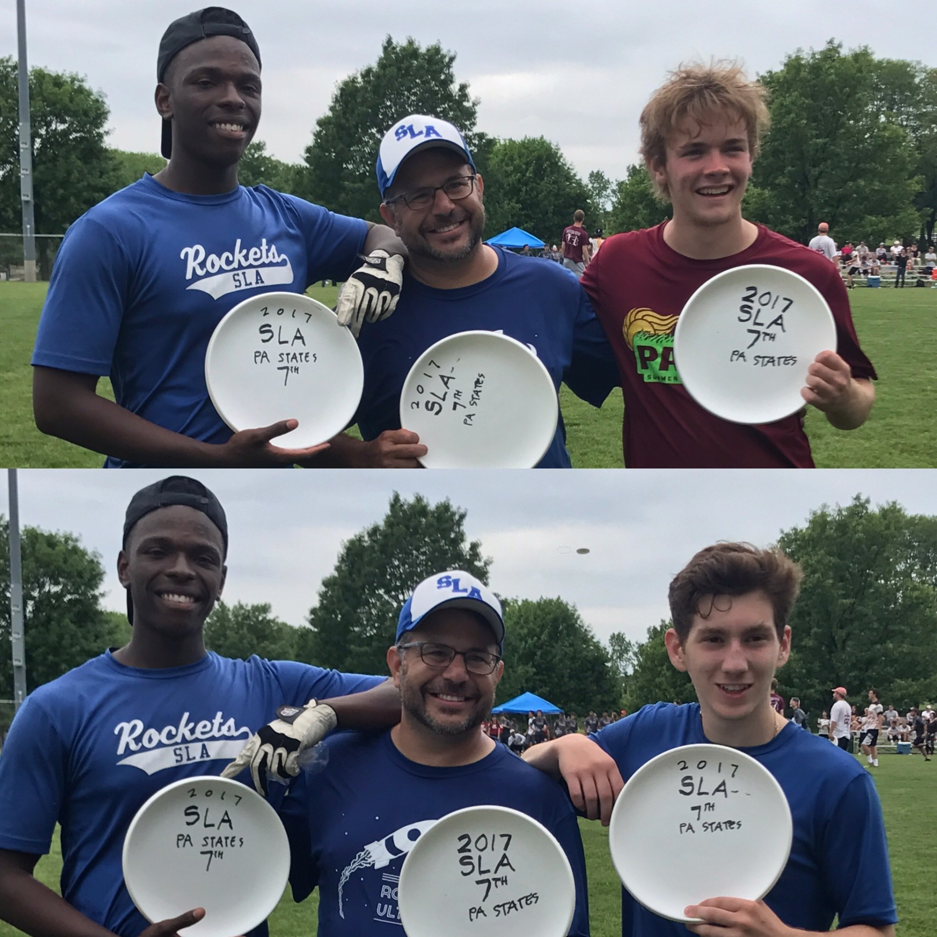 Top: Seniors Kobe Nabried and Eli Block with Coach Lehmann. Bottom: Captains Nabried and Eli Block with their coach