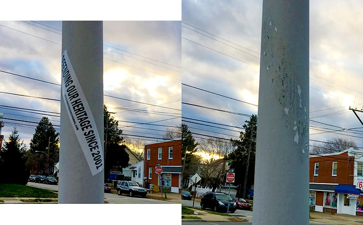 White nationalist propaganda removed from a pole