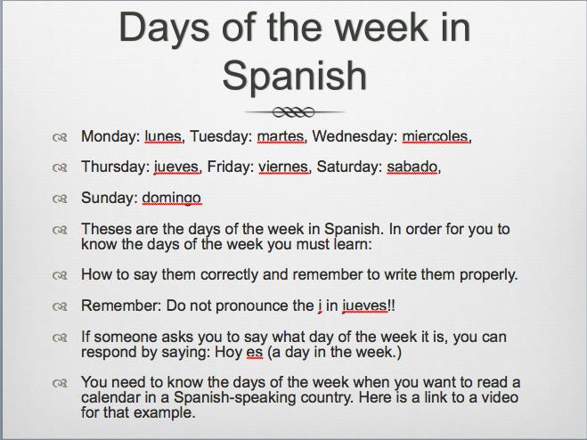 Calendar Days Of The Week In Spanish.Spanish 1 Manuel Science Leadership Academy Center City